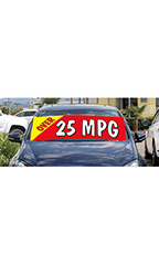 "Windshield Banner With Bungee Cord - ""Over 25 MPG"""