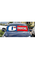 "Windshield Banner With Bungee Cord - ""0% Financing"""