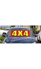 "Windshield Banner With Bungee Cord - ""4 X 4"""