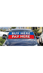 "Windshield Banner With Bungee Cord - ""Buy Here Pay Here"""