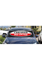 "Windshield Banner With Bungee Cord - ""Certified Pre-Owned"""