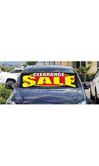 "Windshield Banner With Bungee Cord - ""Clearance Sale"""