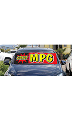 "Windshield Banner With Bungee Cord - ""Great MPG"""