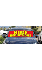 "Windshield Banner With Bungee Cord - ""Huge Reductions"""
