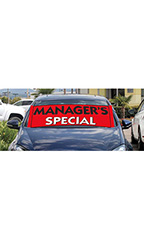 "Windshield Banner With Bungee Cord - ""Managers Special"""