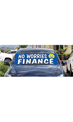 "Windshield Banner With Bungee Cord - ""No Worries Finance"""