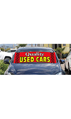 "Windshield Banner With Bungee Cord - ""Quality Used Cars"""