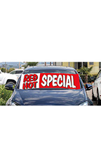"Windshield Banner With Bungee Cord - ""Red Hot Special"""