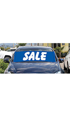 "Windshield Banner With Bungee Cord - ""Sale"" - Blue"