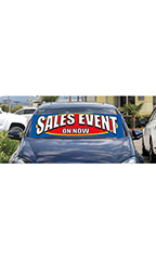 "Windshield Banner With Bungee Cord - ""Sales Event"""