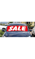 "Windshield Banner With Bungee Cord - ""Sale"" - Red"