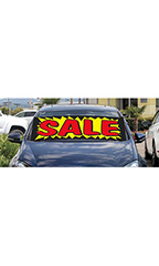 "Windshield Banner With Bungee Cord - ""Sale"" - Yellow with Red"
