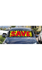"Windshield Banner With Bungee Cord - ""Save"" - Yellow with Red"