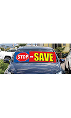 "Windshield Banner With Bungee Cord - ""Stop And Save"""