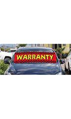 "Windshield Banner With Bungee Cord - ""Warranty"""
