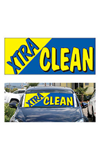 "Windshield Banner With Bungee Cord - ""Xtra Clean"""