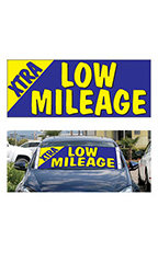 "Windshield Banner With Bungee Cord - ""Xtra Low Mileage"""