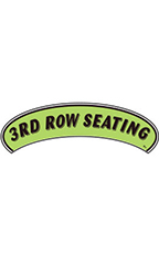 "Arch Windshield Slogan Sticker - Black/Neon Green - ""3rd Row Seating"""