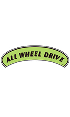 "Arch Windshield Slogan Sticker - Black/Neon Green - ""All Wheel Drive"""