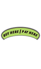 "Arch Windshield Slogan Sticker - Black/Neon Green - ""Buy Here/Pay Here"""