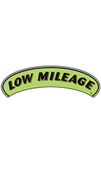 "Arch Windshield Slogan Sticker - Black/Neon Green - ""Low Mileage"""