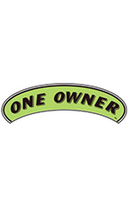 "Arch Windshield Slogan Sticker - Black/Neon Green - ""One Owner"""