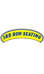 "Arch Windshield Slogan Sticker - Blue/Yellow - ""3rd Row Seating"""