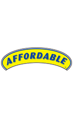 "Arch Windshield Slogan Sticker - Blue/Yellow - ""Affordable"""