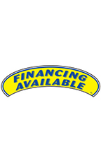 "Arch Windshield Slogan Sticker - Blue/Yellow - ""Financing Available"""