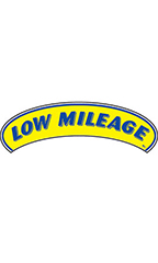 "Arch Windshield Slogan Sticker - Blue/Yellow - ""Low Mileage"""