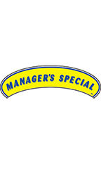 "Arch Windshield Slogan Sticker - Blue/Yellow - ""Managers Special"""