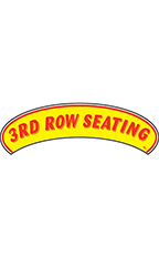 "Arch Windshield Slogan Sticker - Red/Yellow - ""3rd Row Seating"""