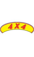 "Arch Windshield Slogan Sticker - Red/Yellow - ""4 X 4"""