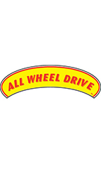 "Arch Windshield Slogan Sticker - Red/Yellow - ""All Wheel Drive"""