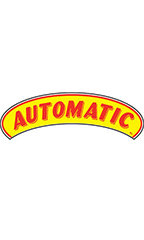 "Arch Windshield Slogan Sticker - Red/Yellow - ""Automatic"""
