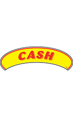 "Arch Windshield Slogan Sticker - Red/Yellow - ""Cash"""