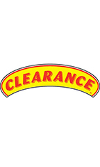 "Arch Windshield Slogan Sticker - Red/Yellow - ""Clearance"""