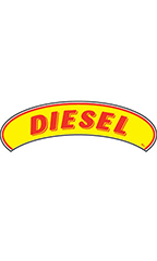 "Arch Windshield Slogan Sticker - Red/Yellow - ""Diesel"""