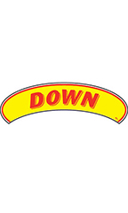 "Arch Windshield Slogan Sticker - Red/Yellow - ""Down"""