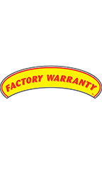 "Arch Windshield Slogan Sticker - Red/Yellow - ""Factory Warranty"""
