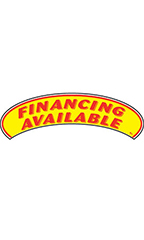 "Arch Windshield Slogan Sticker - Red/Yellow - ""Financing Available"""