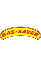"Arch Windshield Slogan Sticker - Red/Yellow - ""Gas Saver"""