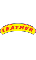 "Arch Windshield Slogan Sticker - Red/Yellow - ""Leather"""