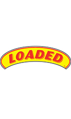 "Arch Windshield Slogan Sticker - Red/Yellow - ""Loaded"""