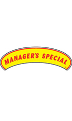 "Arch Windshield Slogan Sticker - Red/Yellow - ""Managers Special"""