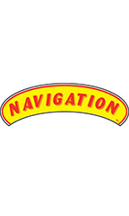 "Arch Windshield Slogan Sticker - Red/Yellow - ""Navigation"""