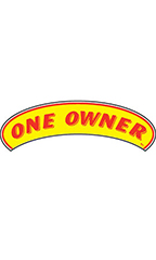 "Arch Windshield Slogan Sticker - Red/Yellow - ""One Owner"""