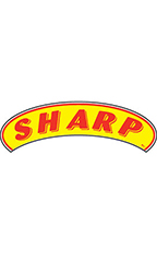 "Arch Windshield Slogan Sticker - Red/Yellow - ""Sharp"""