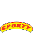 "Arch Windshield Slogan Sticker - Red/Yellow - ""Sporty"""