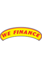 "Arch Windshield Slogan Sticker - Red/Yellow - ""We Finance"""